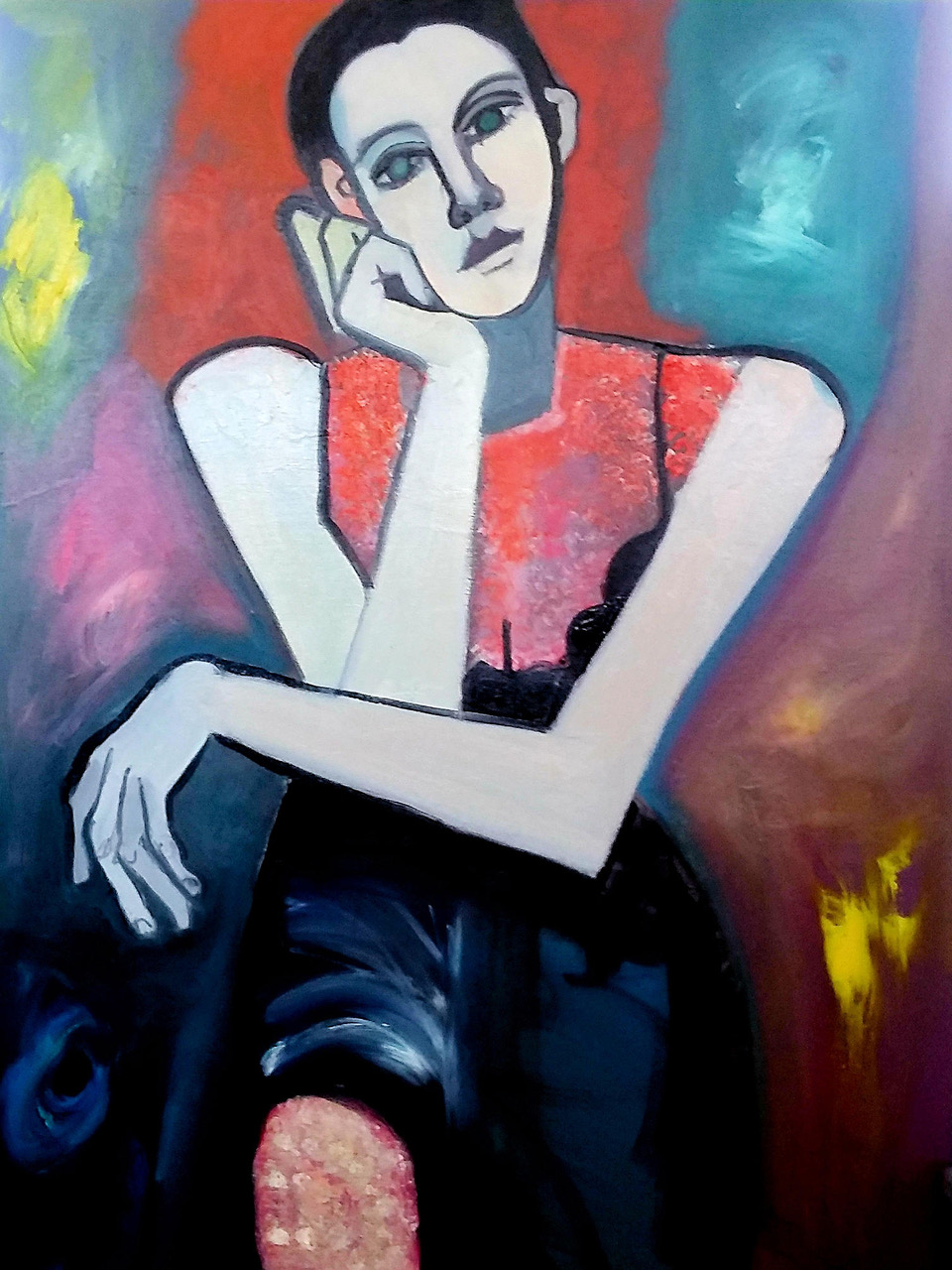 """Wistful Girl Painting from """"She"""" Exhibition"""